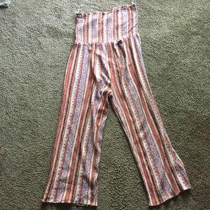 MUDD boho pink patterned strapless jumpsuit